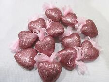 """Valentines Day Pink Glitter Hearts 2"""" Ornaments Decorations Decor Set of 12"""