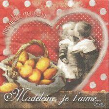 2 Serviettes papier Madeleine Je t'aime Decoupage Paper Napkins Cupcake