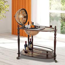 Homcom 801-042 Globe Wine Trolley with Glass Holder - Dark Yellow/Brown