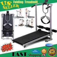 Folding Manual Treadmill 4-in-1 Shock Running Working Machine Fitness Incline US