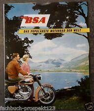 Bsa folleto 1959 500 650 Twins 350 500 OHV 250 Star Oldtimer motocicleta
