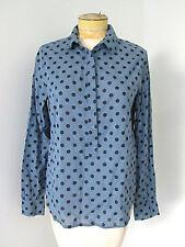 J Crew lightweight cotton button tunic blouse top slate blue polka dot Sz 6