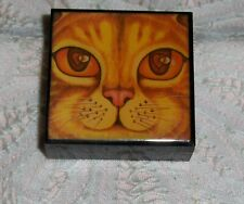 Vtg Miniature Cat Face Trinket Box Plastic Kitten Face Big Eyed Kitty Ring Box
