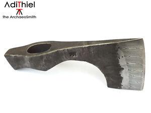 B_01b Bearded Hammer Poll AXE with Damascus Steel Cutting Edge (hatchet, axe)