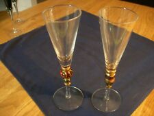 Beautiful crystal toasting flutes-Very Unique with Red Gold Blue Design on Stem