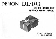 Denon DL-103 Stereo Cartridge Owners Manual
