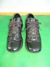 Gucci Black Leather/Canvas Style # 101-6127 Lace-Up Sneakers Women SZ# 8 B