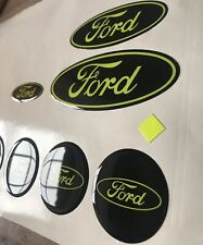 3 X Gel Domed Badges + 55mm Centres For Ford Focus Fiesta Mondeo All Models