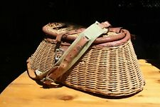 British Hong Kong Vintage Wicker Fishing Creel Basket Prop
