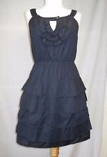 Maeve Anthropologie Tiered Ruffles Shift Dress Sz 2 Navy Blue Cotton Key-Hole