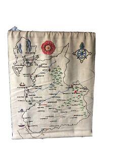 Vintage Needlework Sampler Map Northwest Lakes Liverpool Manchester