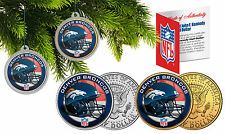 DENVER BRONCOS Christmas Tree Ornaments JFK Half Dollar US 2-Coin Set NFL