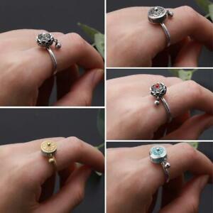 Rotating Rings Buddhist Tibetan Prayer Wheel Ring OM Mantra Lotus Floral Rings