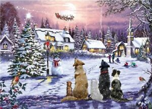 Christmas Eve Jigsaw Puzzle   Santa Snow Scene 1000 Piece   Gift for Dog Lovers