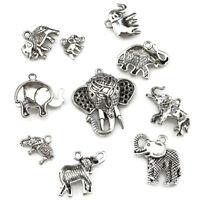 22400- 10pcs Antique Vintage Elephant Charm Diy Jewelry Pendant