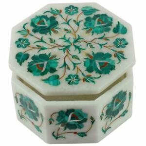 "4"" x 4"" x 2"" Marble Jewelry Box Malachite Stone Inlay Work Handmade"