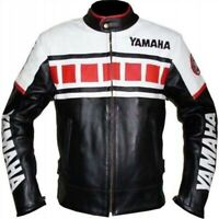 YAMAHA RED MOTORBIKE TRACK DAYS COWHIDE LEATHER ARMOURED PROTECTED JACKET