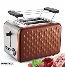 2 Scheiben Retro Toaster mit Brötchenaufsatz Vintage Design Edelstahl Diamonds