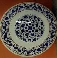 "24"" White Marble Top Coffee Table Inlay Lapis Elephant Stone Bedroom Decor H3124"