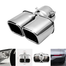 "1X Universal For Car 63mm/ 2.5"" Chrome Stainless steel Exhaust Dual Tip Muffler"