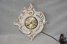 VINTAGE WHITE AND GOLD CERAMIC WALL CLOCK ~ MOVEMENT BY SESSIONS ~ MADE IN USA.