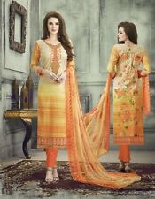 Pure Cambric Cotton Printed Embroidered Suit With Bemberg Chiffon Dupatta