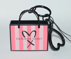 NEW VICTORIA'S SECRET PINK SIGNATURE STRIPE SHOPPER BAG KEYCHAIN CHARM CLIP TAG