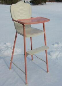 Vintage Retro Pink Metal Mini Doll Toy High Chair Deco Deco Amsco Kid Child Tray