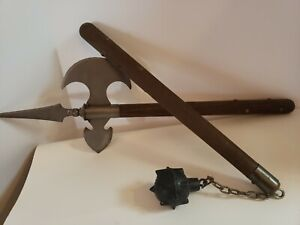 Vintage Medieval 2 pc Battle Set Sword Axe & Ball Flail/Mace