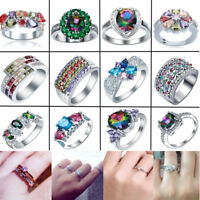 Women 925 Silver Filled Rings Sapphire Crown Wedding Bride Party Jewelry Gift