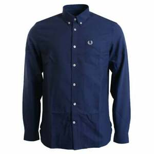 Fred Perry Shirt Classic Oxford Blue Mens LARGE Casual Long Sleeve M3551 BNWT
