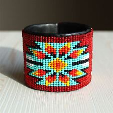 BR508-110 Red Artisan Guatemala Native Medallion Star Cuff Glass Bead Bracelet
