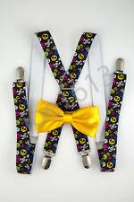 Yellow Orange Bow Tie Large Colored Skulls Suspender Combo Set Wedding SDBT062
