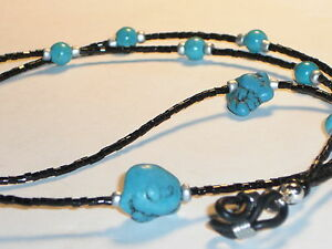 """Eyeglass Chain~ Black Beads w/ Turquoise Accents~28"""" Buy 3 SHIP FREE"""