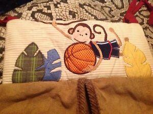lambs & Ivy team safari diaper stacker monkey with basketball