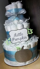3 Tier Diaper Cake - Little Pumpkin Theme Blue and Silver - Fall Theme