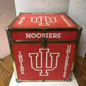 "Vintage Indiana University Hoosiers Red White Wood Brass Storage 16"" Trunk Box"