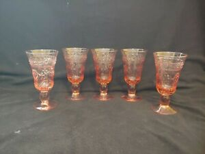"""Lot of 5 Pink Footed Water Goblets 6 1/2"""" Tall Depression Glass Nice Pattern"""