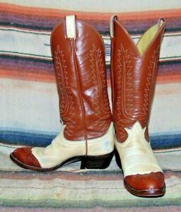 Mens Tony Lama Bone / Brown Lizard Wingtip Leather Cowboy Boots 6 1/2 B Good Con