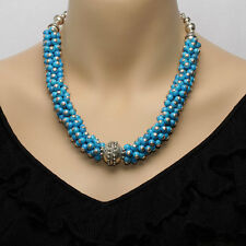 Sterling Silver & Turquoise Bead Necklace With Matching Bracelet & Earrings
