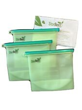 3 Pcs Reusable Silicone Food Storage Bags Leakproof Containers Stand Up BPA Free