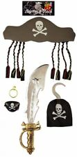 Adult Pirate Accessories Sword Hat Ear-ring Hook Eye-Patch Party Fancy Dress