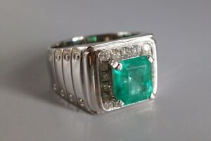 2.8 ct Colombian Emerald Pinky Ring Mens Prong Set in Real 925 Sterling Silver