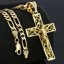 18k Gold Plated JESUS CROSS CRUCIFIX Charm Pendant 5mm 18