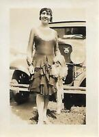 SMALL FOUND PHOTO bw A WOMAN FROM THEN Original snapshot CAR PORTRAIT 14 18 P
