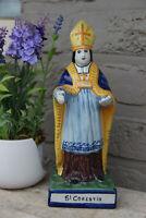 Antique religious Henriot Quimper faience ceramic Saint Corentin statue figurine