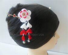 "Japanese Handmade Kimono ""UME"" Flower Tsumami Kanzashi Chirimen Fabric/ Prong"