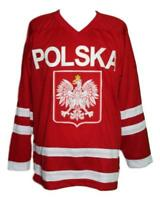 Any Name Number Size Polska Poland Retro Custom Hockey Jersey Red