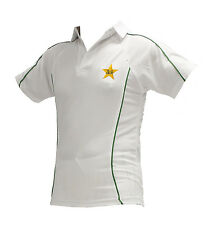 HIGH QUALITY WHITE CRICKET SHIRT WITH PAKISTAN LOGO SHORT SLEEVE SMALL 34-36CM
