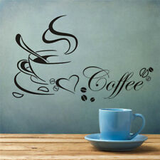 Restaurant Kitchen Removable Wall Stickers Coffee Cup with Heart DIY Home Decor
